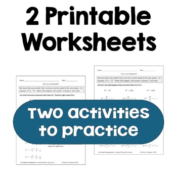 Zero As An Exponent Worksheets