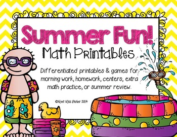 Differentiated Math Printables for Summer - Common Core