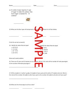 Differentiated Math Ratio Quizzes