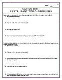 Differentiated Math Real-Life Math Word Problems: Eating Out