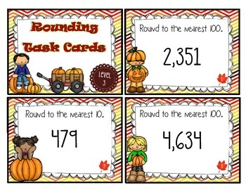 Differentiated Math Rounding Task Cards - Fall Theme
