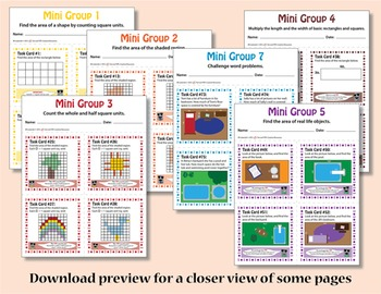 Area Task Cards – Differentiated Math Problems – Common Core Aligned