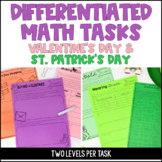 Differentiated Math Tasks {Valentine's Day Math and St. Pa