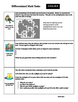 Differentiated Math Tasks for Common Core 3.OA.D.9