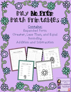 Differentiated May No Prep Math Printables