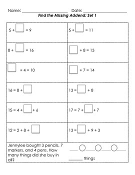 Differentiated Missing Addends and Word Problems