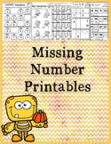 Differentiated Missing Number Worksheets