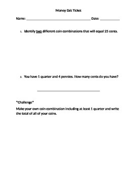 Differentiated Money Exit Ticket