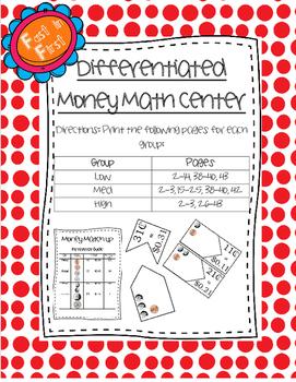 Differentiated Money Match-up Math Center