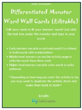 Differentiated Monster Word Wall Practice