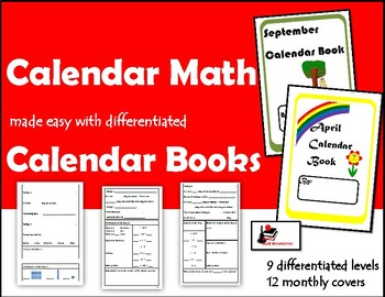 differentiated monthly calendar math books by raki s rad resources