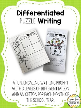 Differentiated Monthly Puzzle Writing Prompts