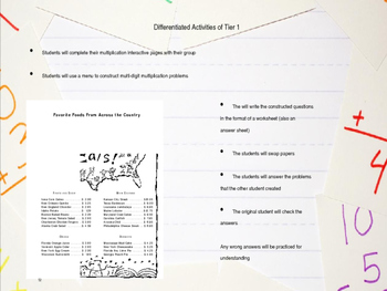 Differentiated Multi-Digit Multiplication Lesson with Interactive Notebook Pages