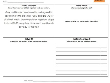 Differentiated Multi-Step Math Word Problems 5th Grade Common Core (Set 2)