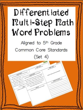 Differentiated Multi-Step Math Word Problems 5th Grade Com