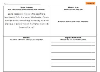 Differentiated Multi-step Math Word Problems with Graphic Organizer (Set 5)