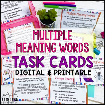 Multiple Meaning Words Task Cards