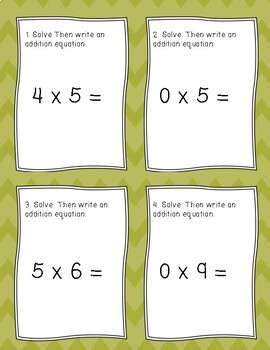 Differentiated Multiplication Task Cards 0's and 5's