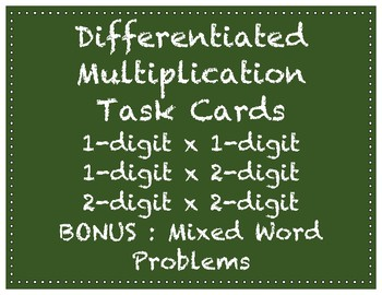 Differentiated Multiplication Task Cards