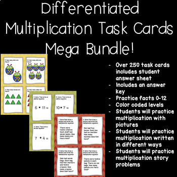 Differentiated Multiplication Task Cards Bundle!