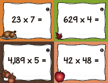 Differentiated Multiplication Task Cards | Thanksgiving Theme