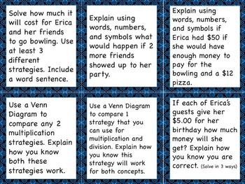 Differentiated Multiplication and Division Task Cards