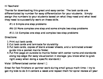 Differentiated Multiplication and Division Word Problem Task Cards Grade 3