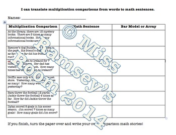 Differentiated Multiplicative Math Stories Translations (4.OA.A.1 & 4.OA.A.2)