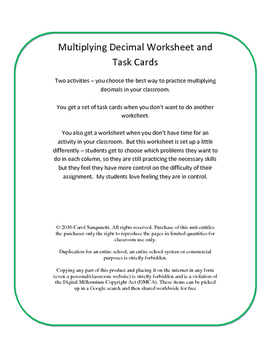 Differentiated Multiply Decimal Worksheet/Task Cards