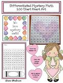 Differentiated Mystery Math: 100 Chart Heart Art