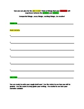 Differentiated Narrative/Story Elements Writing w/ Rubric & Graphic Organizer