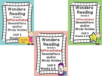 Wonders Reading Differentiated Newsletters / Study Guides Grade 2 Units 1-3