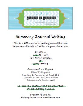 Differentiated Non-Fiction Summary Writing Journal (includes reading passages!)