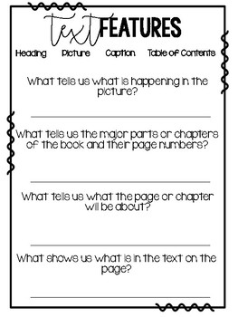 Differentiated Non-Fiction Text Feature Quick Check