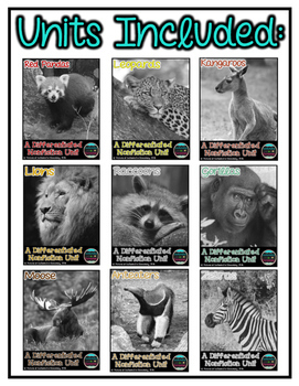 Differentiated Nonfiction Animal Units- Bundle #2