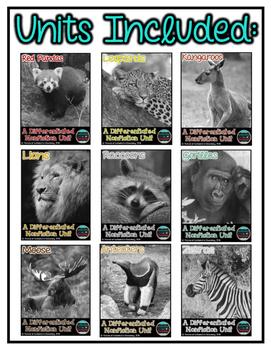 Differentiated Nonfiction Animal Units- Bundle #2