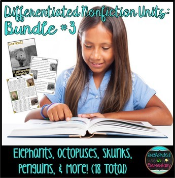 Differentiated Nonfiction Animal Units- Bundle 3