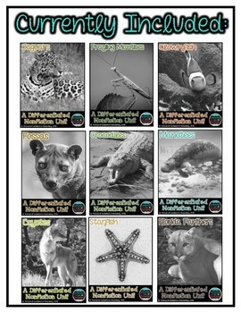 Differentiated Nonfiction Animal Units- Bundle #4