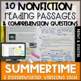 Summer Nonfiction Passages and Questions - Print and Digital