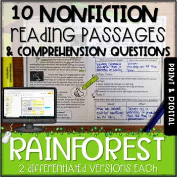 Rainforest Nonfiction Passages and Questions - Distance Learning Packet