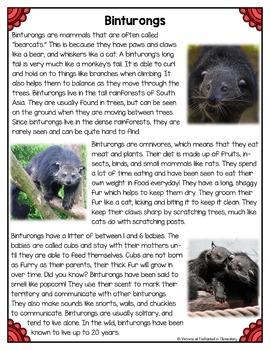 Differentiated Nonfiction Unit: Binturongs