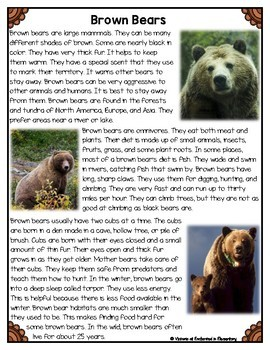 Differentiated Nonfiction Unit: Brown Bears