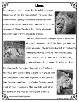 Differentiated Nonfiction Unit: Lions