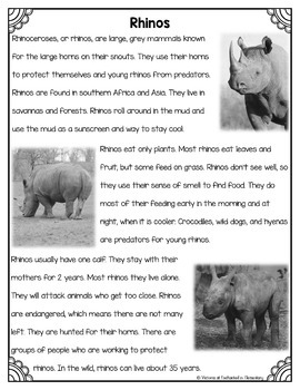 Differentiated Nonfiction Unit: Rhinos