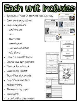 Differentiated Nonfiction Units: Mississippi Animals Bundle