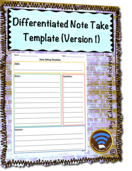 Differentiated Note Taking Template (Version 1)