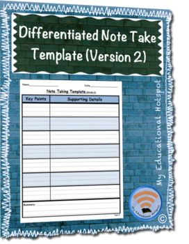 Differentiated Note Taking Template (Version 2)