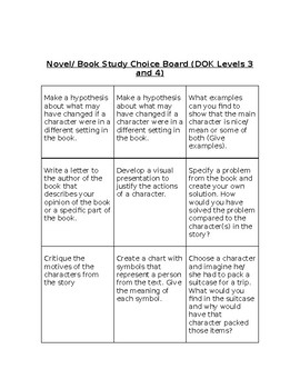 Differentiated Novel/ Book Study Choice Board (DOK Levels 2-4)