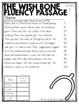 Differentiated November Fluency/Comprehension Passages with Questions