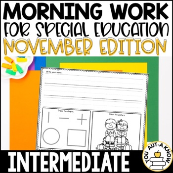 Special Education Morning Work: November Edition {Differentiated for 3 Levels!}